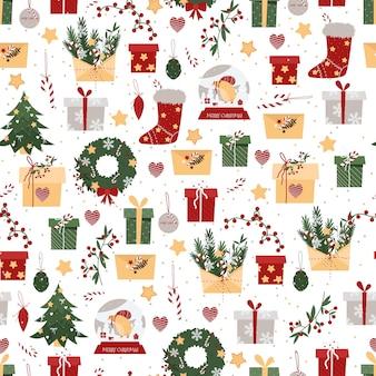 Patrón sin fisuras de navidad con regalos y calcetines sobre un fondo blanco.