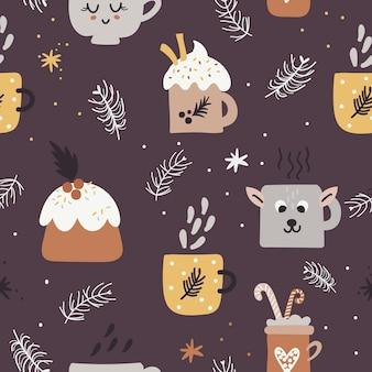 Patrón sin fisuras de navidad con tazas y muffins.