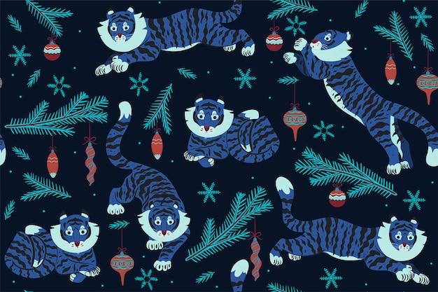 Patrón sin fisuras de navidad con tigres y adornos navideños. gráficos vectoriales.