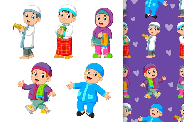 El patrón sin fisuras de los niños musulmanes con su colorido traje de ilustración
