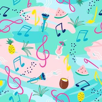 Patrón sin fisuras con notas musicales, instrumentos y símbolos de verano.