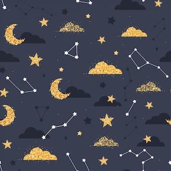 Patrón sin fisuras con nube dorada, estrellas, luna en el cielo.