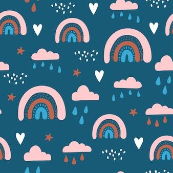 Patrón sin fisuras con nubes y arco iris en el cielo.