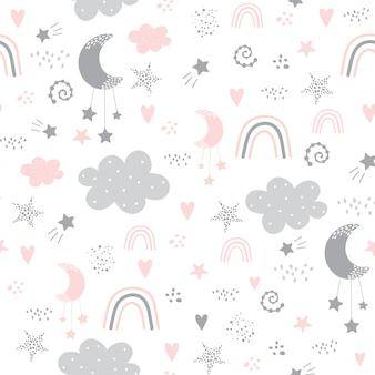 Patrón sin fisuras con nubes, arco iris, estrellas, luna en el cielo.