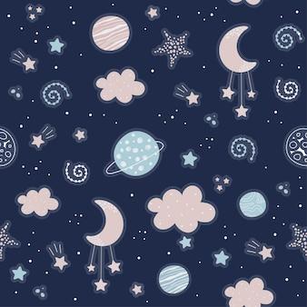 Patrón sin fisuras con nubes, estrellas, luna en el cielo.