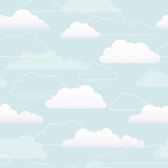Patrón sin fisuras de nubes patrón de nubes blancas fondo azul ilustración plana de vector