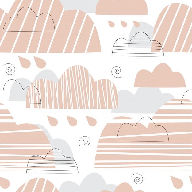 Patrón sin fisuras con nubes rosadas y grises.