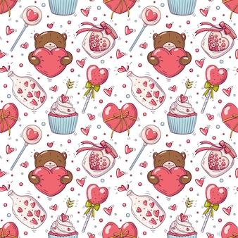 Patrón sin fisuras con objetos de amor y día de san valentín en estilo doodle.