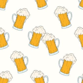 Patrón sin fisuras de oktoberfest con iconos de colores vasos de cervezas