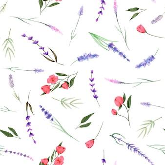 Patrón sin fisuras, ornamento de flores silvestres de acuarela