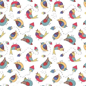 Patrón sin fisuras con pájaro dibujado a mano en el fondo blanco.
