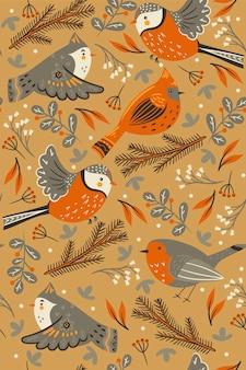 Patrón sin fisuras con pájaros de invierno y elementos florales.