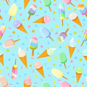 Patrón sin fisuras con paletas de colores, tartas esquimales y helado en conos de waffle