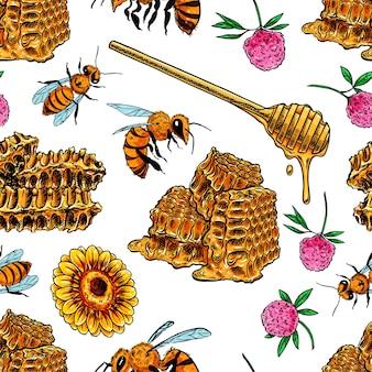 Patrón sin fisuras de panales, abejas y flores.