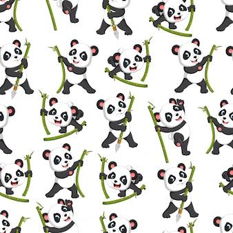 Patrón sin fisuras con panda jugando con el bambú verde