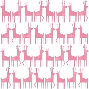 Patrón sin fisuras de papel de reno navideño de ciervo rosa cortado en papel de regalo o tela