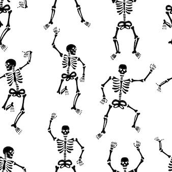 Patrón sin fisuras con el patrón de halloween de esqueletos negros
