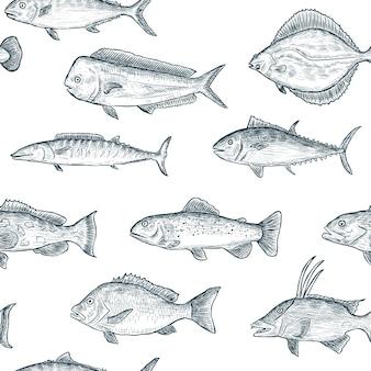 Patrón sin fisuras de peces dibujados a mano negro aislado sobre fondo blanco