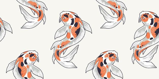 Patrón sin fisuras con peces koi. textura sin fin con carpas japonesas.