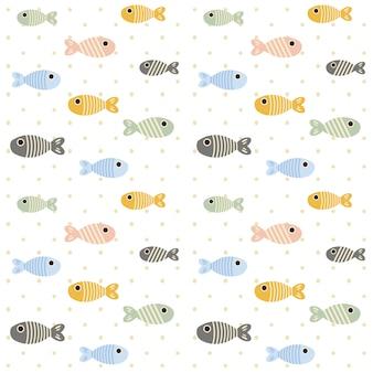 El patrón sin fisuras de peces y línea de peces en el fondo blanco con lunares.