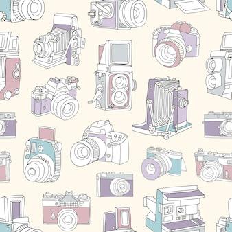 Patrón sin fisuras con película y cámaras fotográficas o fotográficas digitales