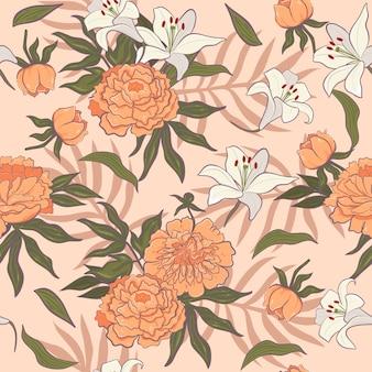 Patrón sin fisuras con peonías naranjas y lirios blancos.