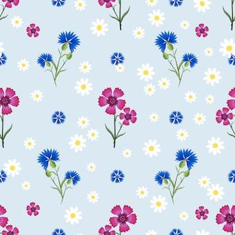 Patrón sin fisuras con pequeñas y grandes margaritas blancas, clavel rosa y acianos azules