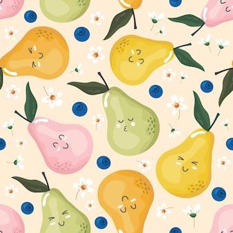 Patrón sin fisuras de peras kawaii con personajes de frutas lindas