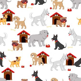 Patrón sin fisuras con perro de dibujos animados lindo