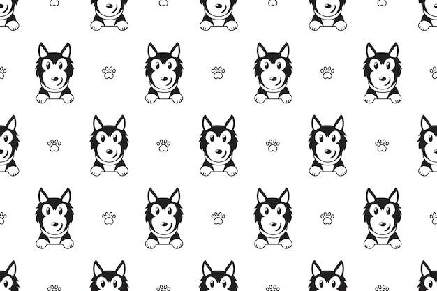 Patrón sin fisuras perro husky siberiano