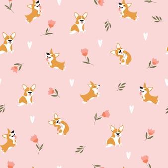 Patrón sin fisuras con perros corgis de divertidos dibujos animados