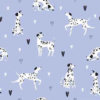 Patrón sin fisuras con perros dálmatas divertidos dibujos animados