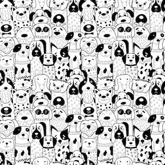 Patrón sin fisuras con perros doodle blanco y negro.