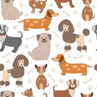 Patrón sin fisuras con perros lindos