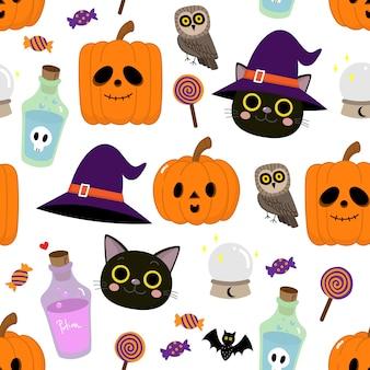 Patrón sin fisuras de personaje de dibujos animados lindo de halloween