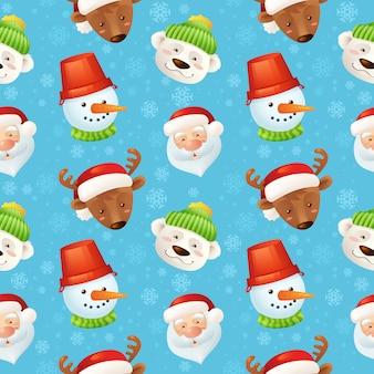 Patrón sin fisuras de personajes de navidad con santa claus ciervos muñeco de nieve oso polar