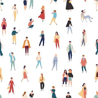 Patrón sin fisuras con personas en trajes de moda caminando, de pie, posando.