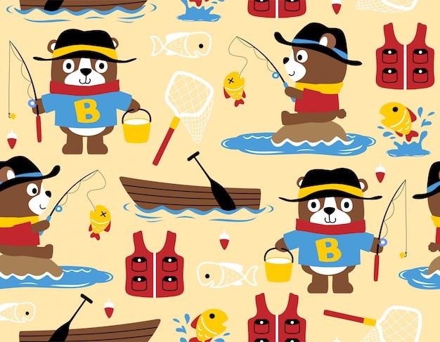 Patrón sin fisuras con la pesca de dibujos animados oso
