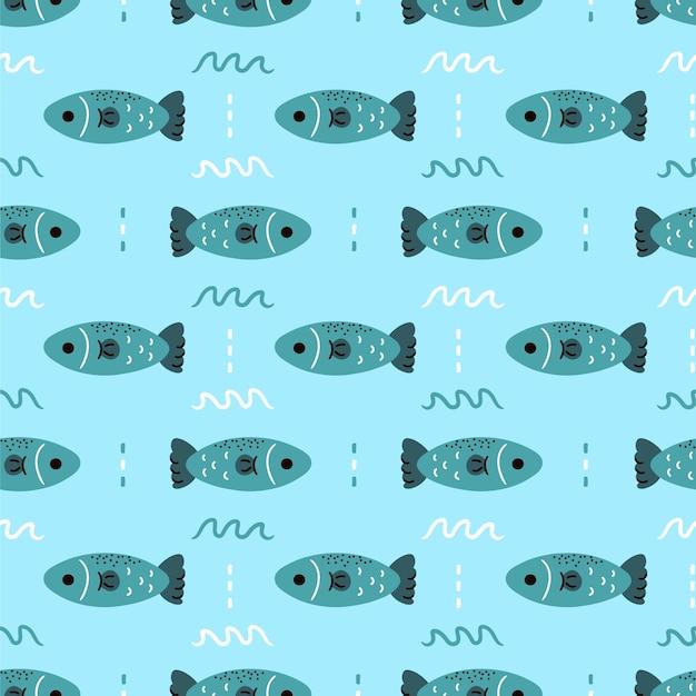 Patrón sin fisuras de pescado salmón simple