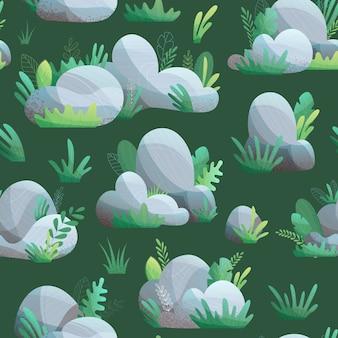 Patrón sin fisuras de piedras con hierba y hojas sobre fondo verde oscuro