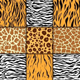 Patrón sin fisuras con piel de guepardo, cebra y tigre, estampado de animales exóticos de leopardo y jirafa.