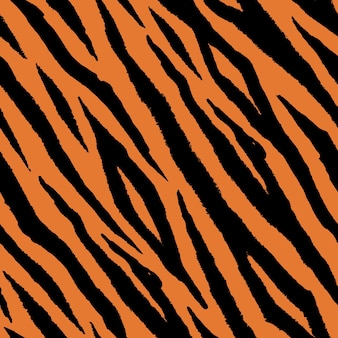 Patrón sin fisuras de piel de tigre en diseño de dibujo a mano doodle