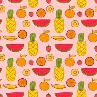 Patrón sin fisuras con piña, naranja, sandía, kiwi y frutas de verano.
