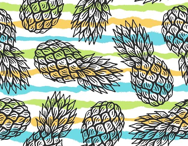 Patrón sin fisuras de piña con raya en doodle vintage sobre fondo blanco.