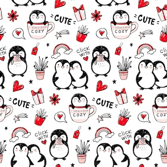 Patrón sin fisuras de pingüino. fondo de animales divertidos. textura dibujada a mano de dibujos animados con personajes lindos. estilo doodle.
