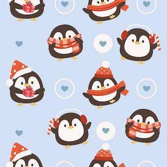 Patrón sin fisuras de pingüino de navidad
