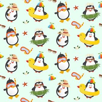 Patrón sin fisuras de pingüinos lindos