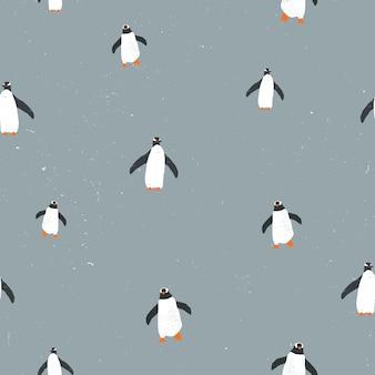 Patrón sin fisuras con pingüinos y textura grunge.
