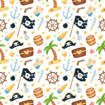 Patrón sin fisuras de piratas de dibujos animados lindo