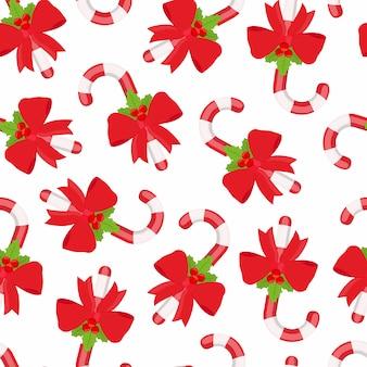 Patrón sin fisuras de piruleta, caña de azúcar de navidad